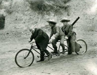 Larry Curly and Moe The Three Stooges on Tandem Bike