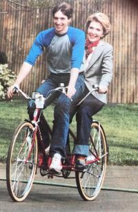 Ronald Jr and Nancy Reagan on Tandem