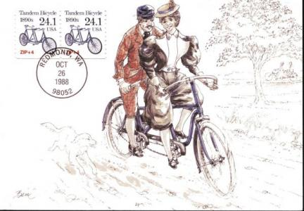Tandem Bike 1988 Postage Stamp with Postcard
