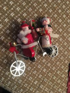 Santa Clause and Mrs on Tandem Ornament